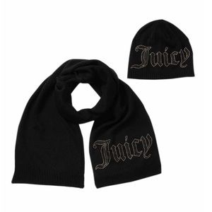 Juicy Couture black hat and scarf set